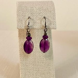 Purple Natural Stone Faceted Crystal Earrings